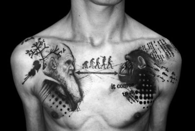 Men Chest Awesome Darwin Science Human Tattoo