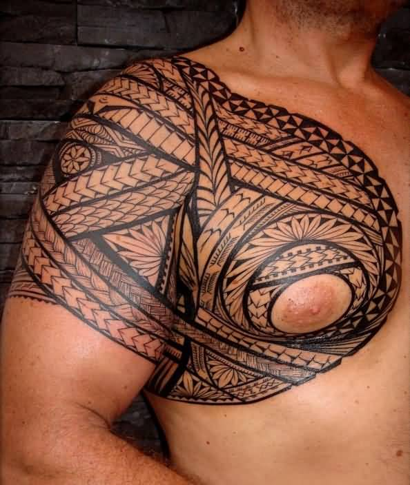 Men Chest Black Ink Hawaiian Samoan Tattoo