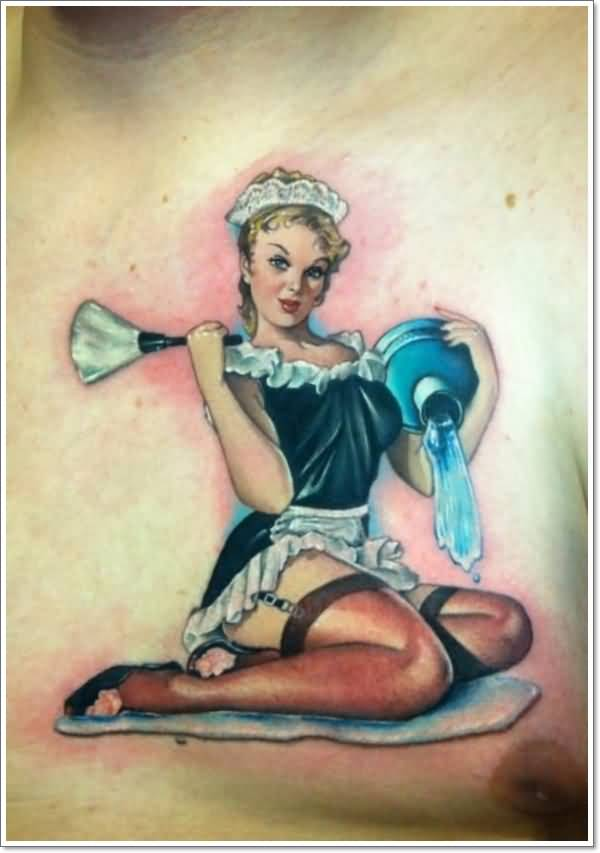 Men Chest Cover Up With Homemade Pin Up Servant Girl Tattoo