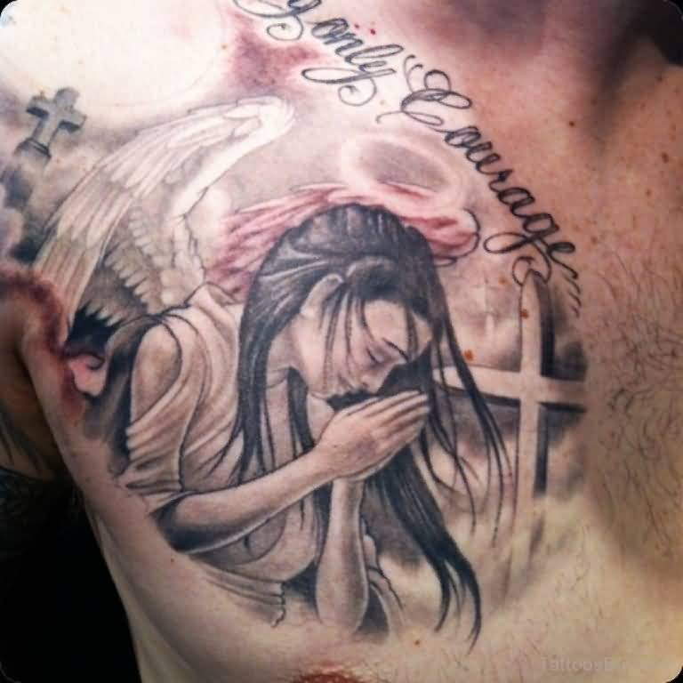 Men Chest Cover Up With Nice One Praying Angel With Cross With Text Tattoo