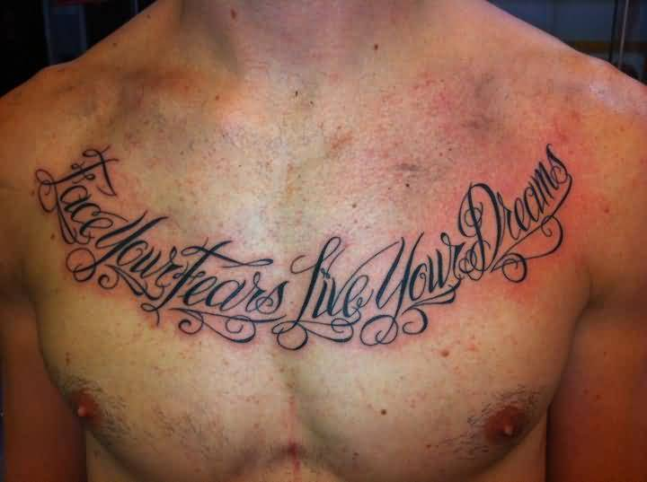 Men Chest Cover Up With Nice Real Madrid Theme Wording Tattoo