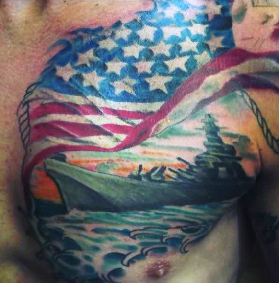 Men Chest Cover Up With Outstanding American Flag And Navy Ship Tattoo