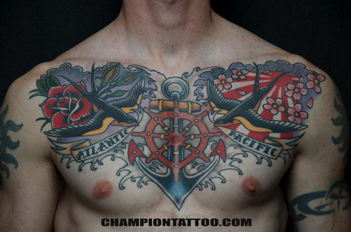 Men Chest Cover Up With Sweet Swallow And Nice Roses Navy Ship Whell Anchor Tattoo