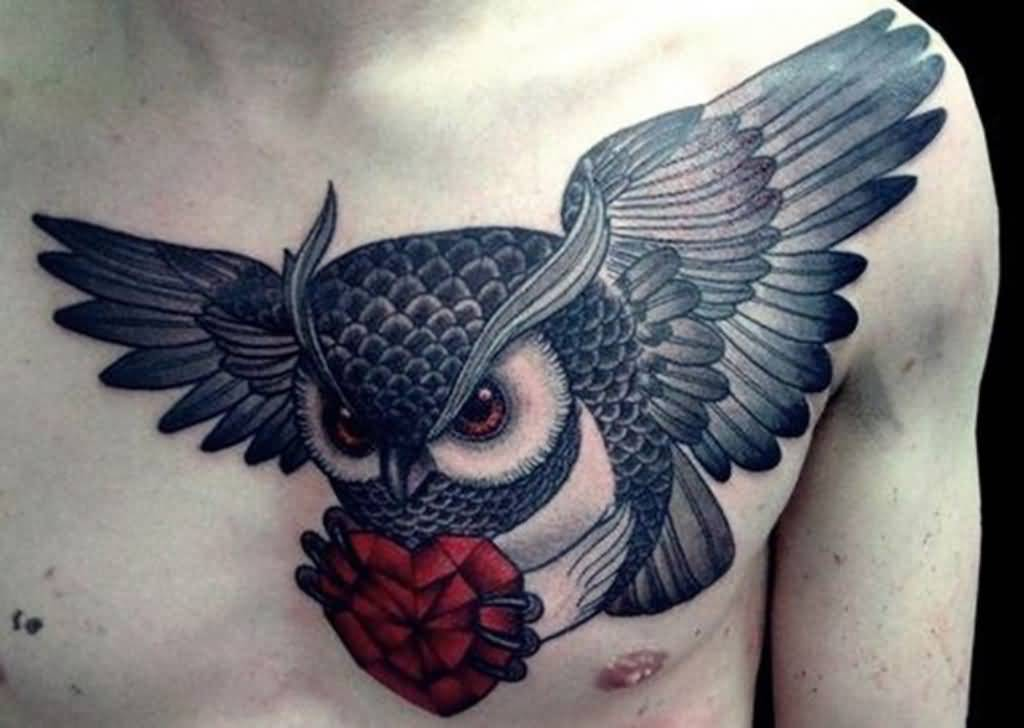 Men Chest Flying Owl With Red Nice Creative Heart Tattoo