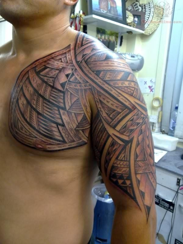 Men Chest Half Sleeve Wonderful Samoan Tattoo