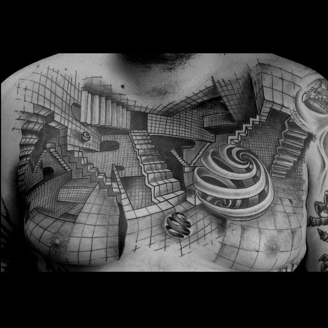 Men Chest Innovative Illustion Of Escher Stairs Tattoo