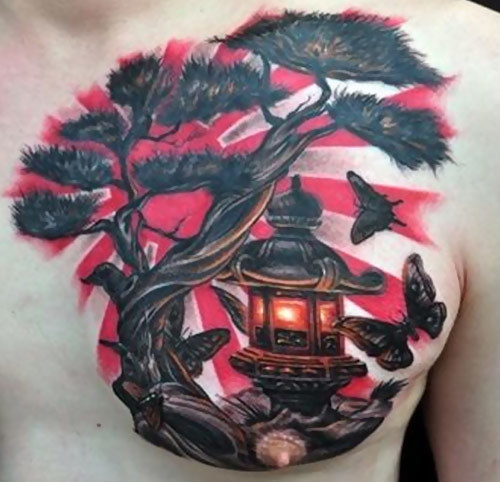 Men Chest Lantern With Tree Tattoo