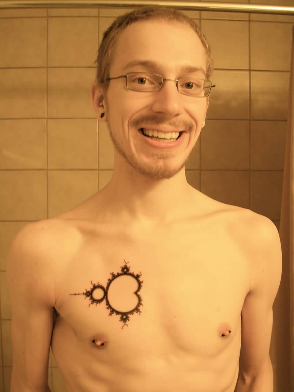 Men Chest Mandelbrot Black Ink Tattoo