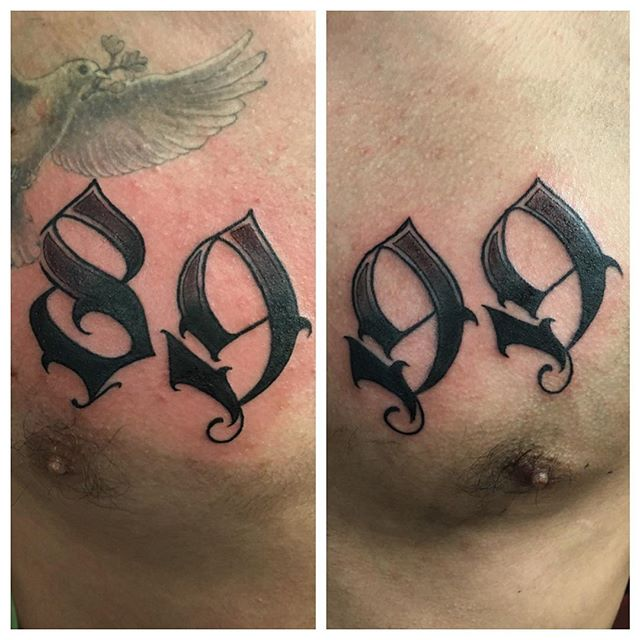 Men Chest Nice 89 And 99 Number Tattoos