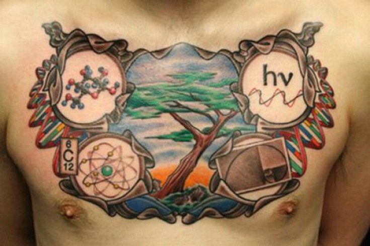 Men Chest Nice Colored Science Atom Nice Tree Scene Tattoo