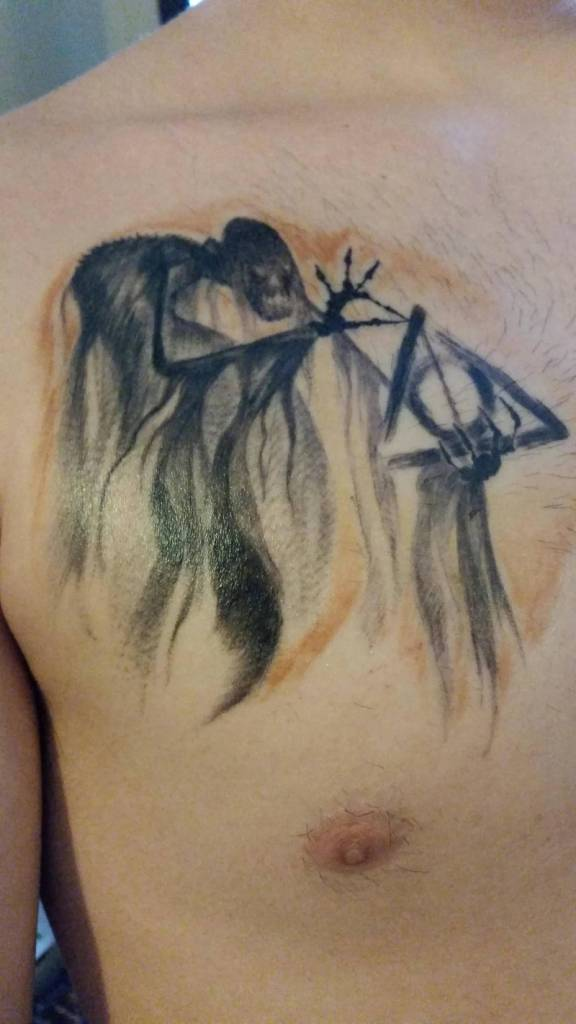 Men Chest Nice Deathly Hallows Tattoo