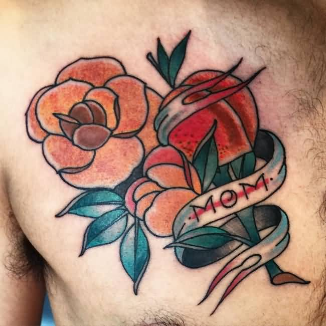 Men Chest Nice Flowers Mom Banner Tattoo