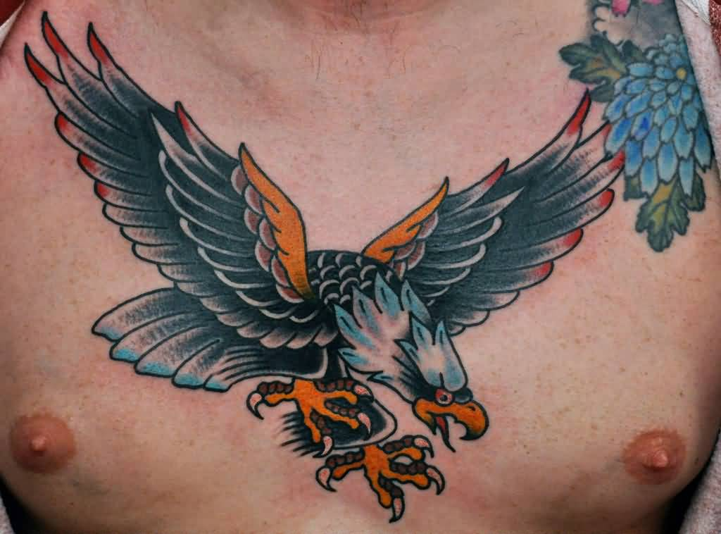 Men Chest Nice Old School Flying Eagle Tattoo