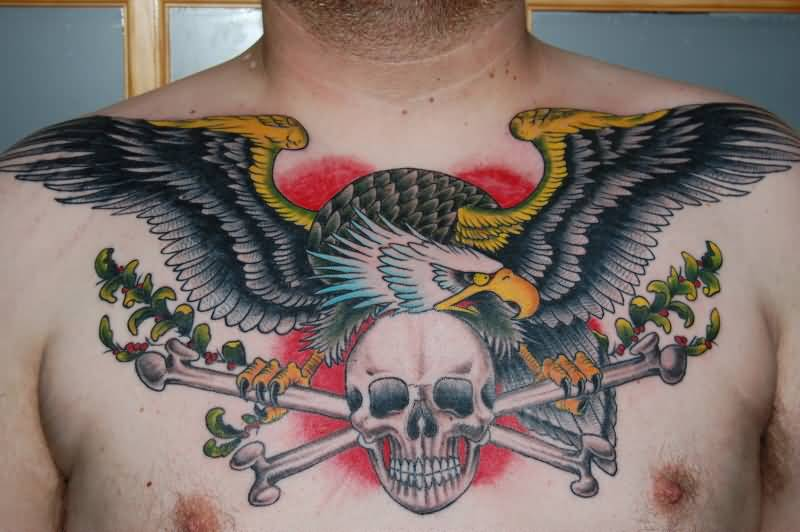 Men Chest Old School Skull With Bones And Eagle Tattoo