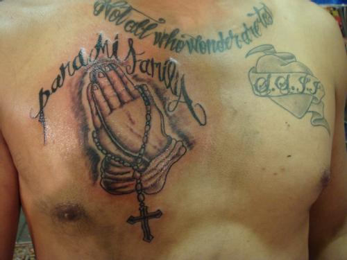 Men Chest Praying Hands And Nice Latino Tattoo