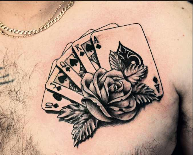 Men Chest Real Look Nice Ace Cards Old School Tattoo