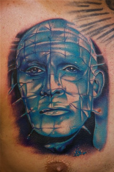 Men Chest Real Look Pinhead Tattoo Design