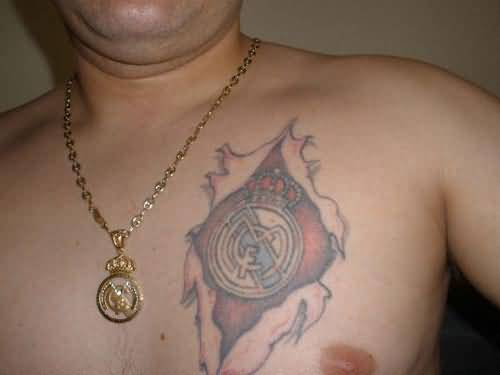 Men Chest Ripped Skin Real Madrid Logo Tattoo
