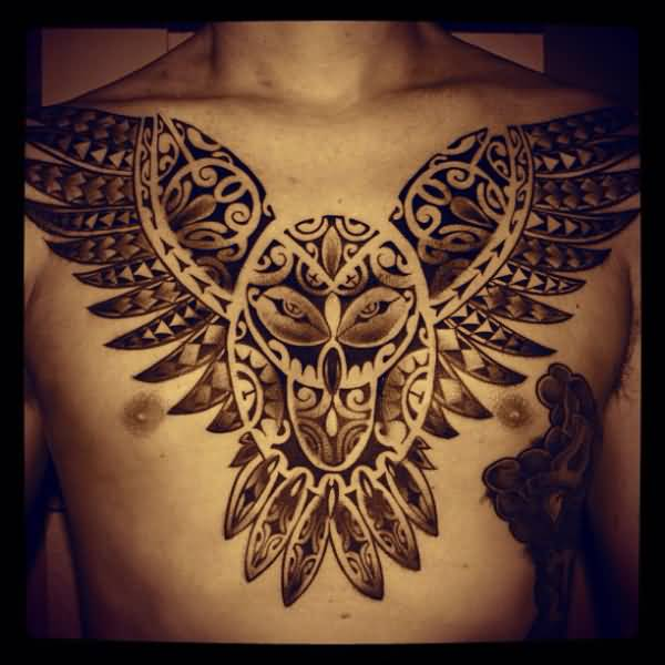Men Chest Samoan Owl Tattoo Idea