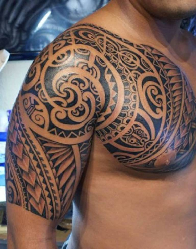 Men Chest Samoan Tattoo On Half Sleeve