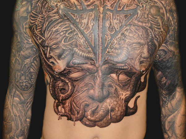 Men Chest Satan Face Tattoo And Nipple Pericng