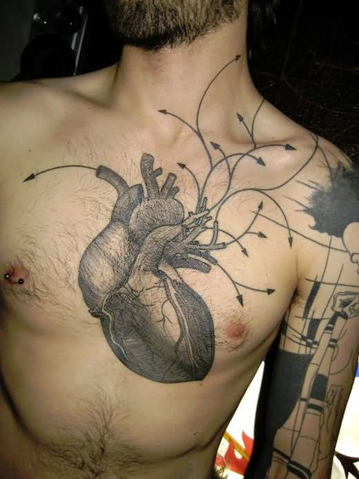 Men Chest Science Heart Tattoo Design
