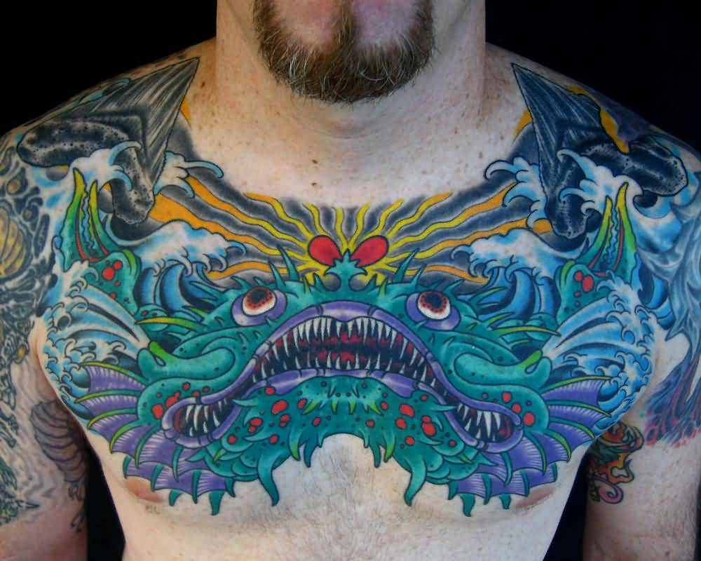 Men Chest Sea Creature Monster Tattoo