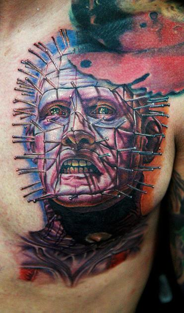 Men Chest Simple And Amazing Pinhead Tattoo