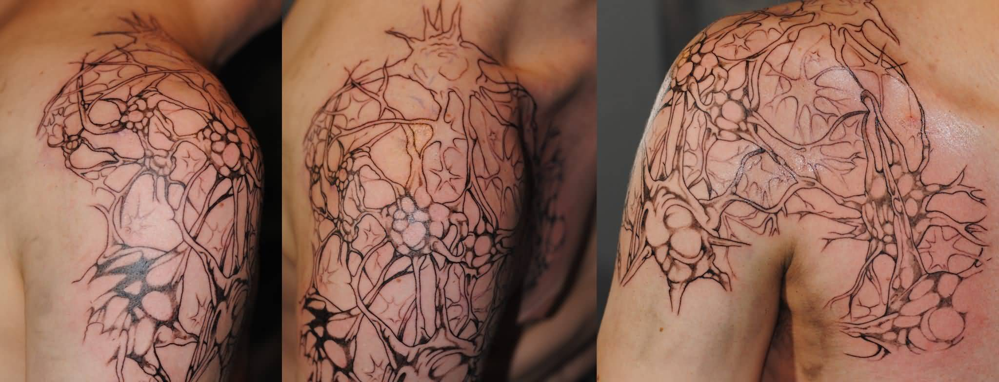 Men Chest To Shoulder Amazing Neuro Science Tattoo