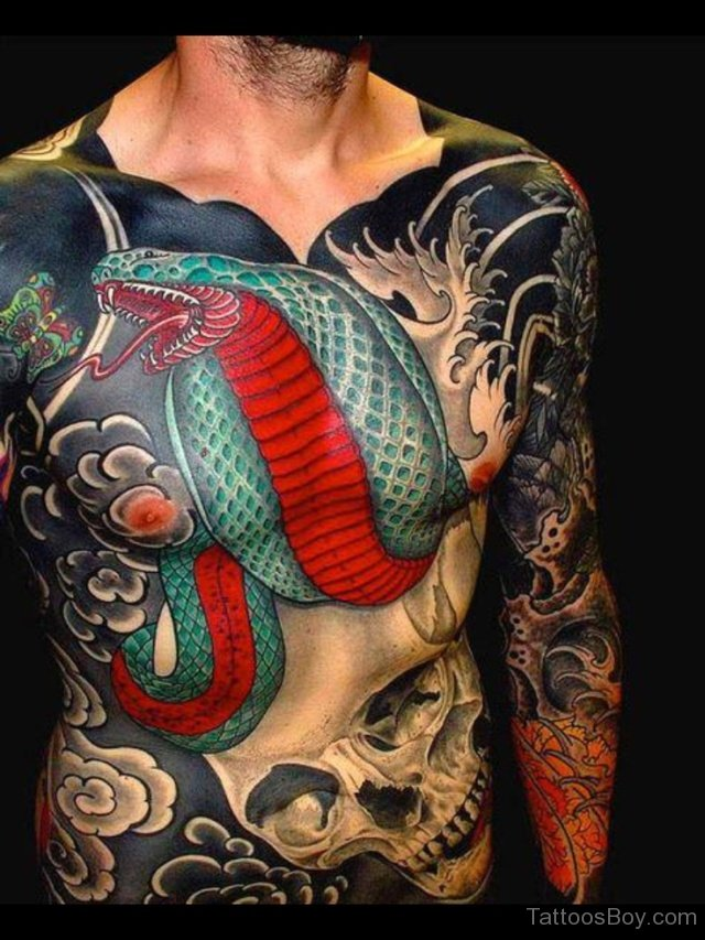 Men Chest Traditional Reptile Snake Tattoo