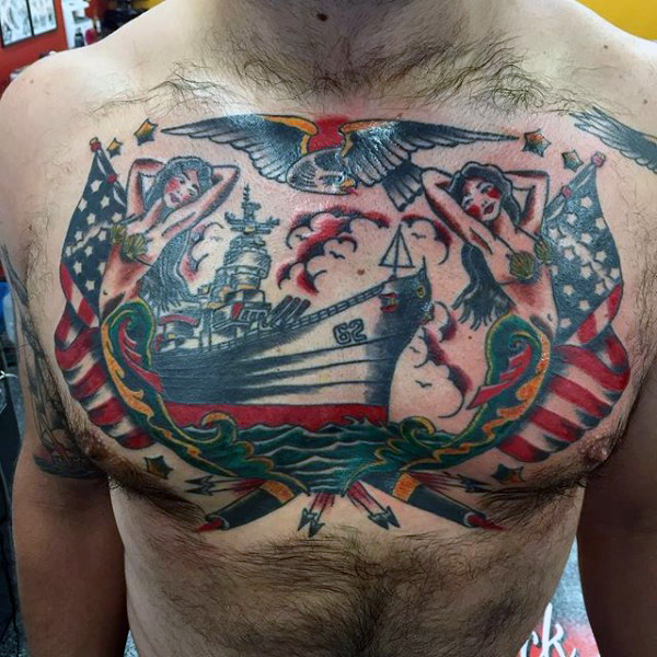 Men Chest US Navy Ship With Hot Girl Tattoo