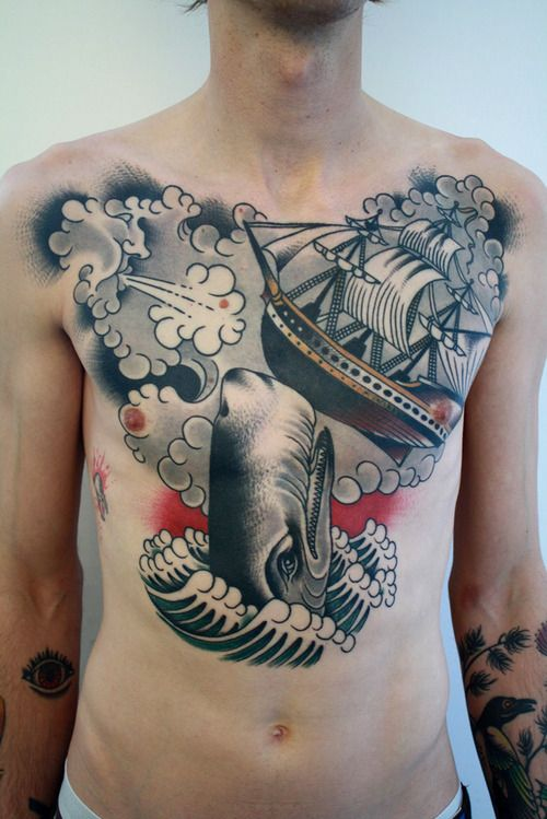Men Chest Whale With Navy Ship Tattoo Design