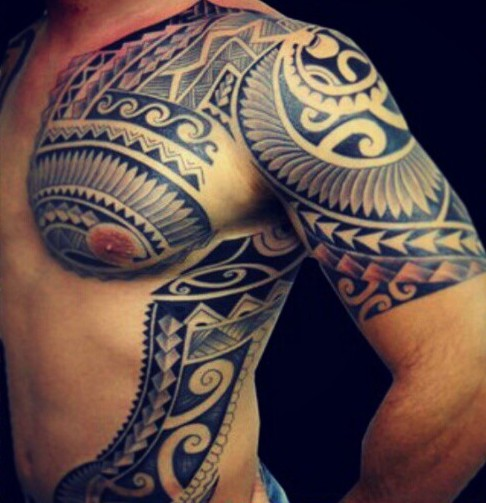 Men Chest With Sleeve And Rib Side Cover Up With Samoan Tattoo