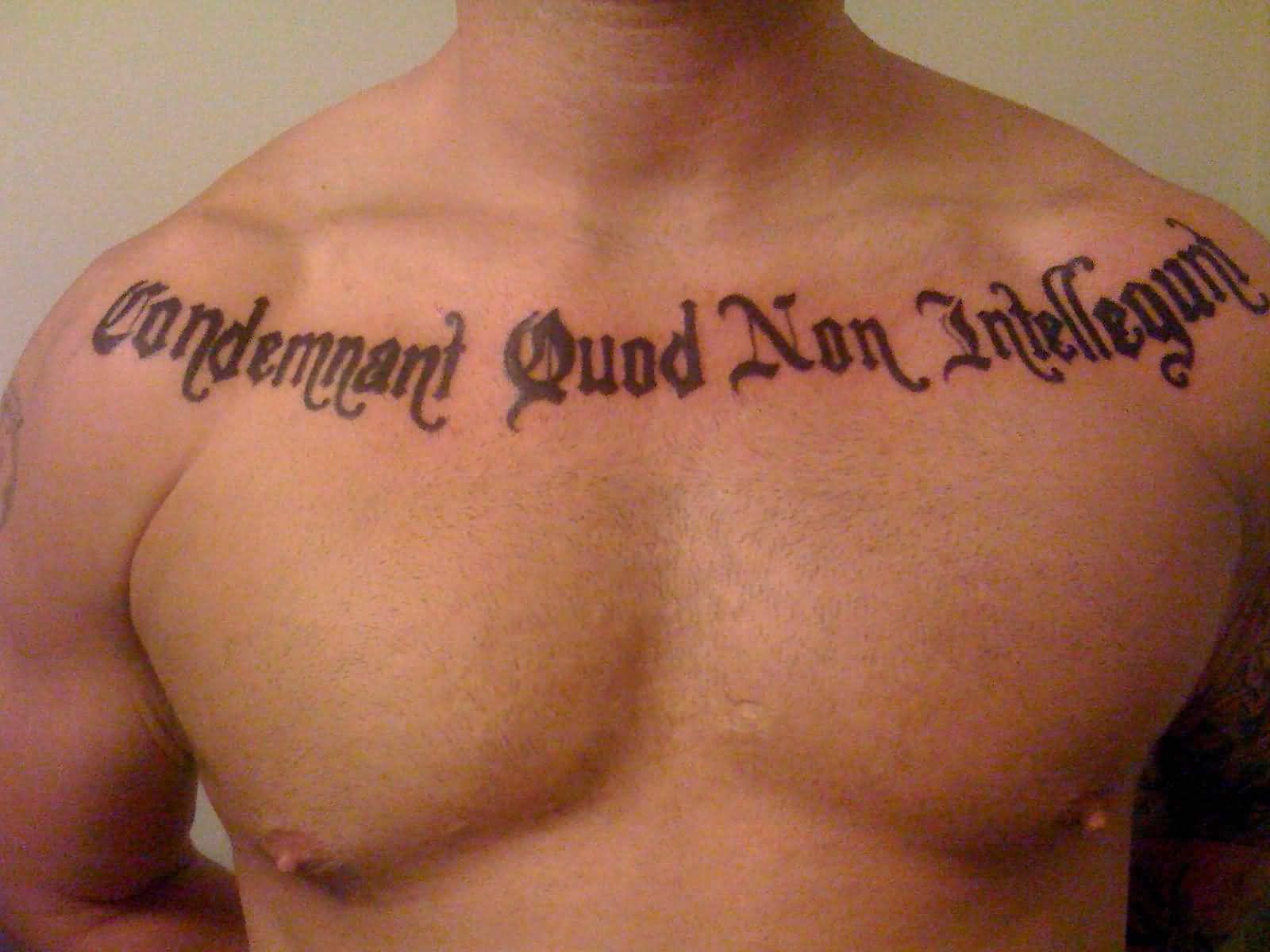 Men Collarbone Nice Latino Font Text Tattoo Design Idea