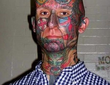 Men Face Extreme Tattoo Of Face And Monster