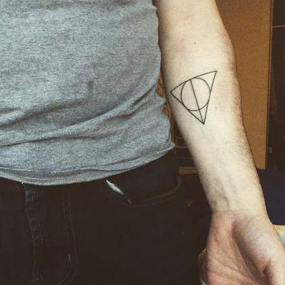 Men Forearm Black Ink Hallows Tattoo