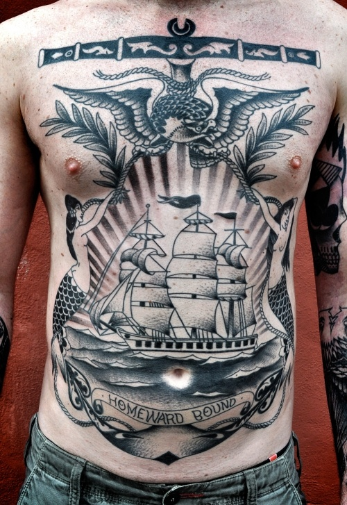 Men Front Body Cover Up With Simple Navy Ship With Eagle Tattoo