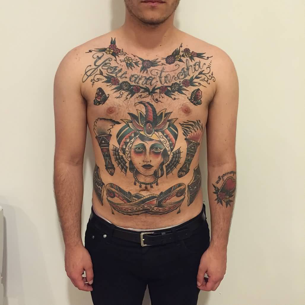 Men Front Body Nice Old School Tattoo Of Girl Face