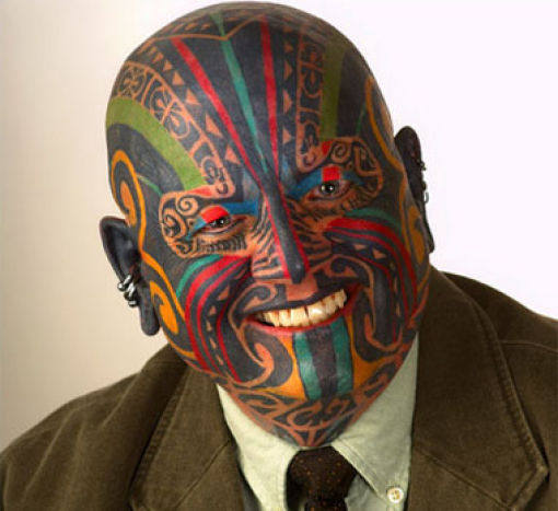Men Ful; Face Colorful Extreme Tattoo