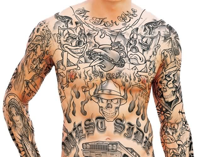 Men Full Body Gangsta Tattoo