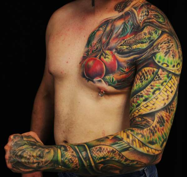 Men Full Sleeve And Chest Reptile Snake Tattoo