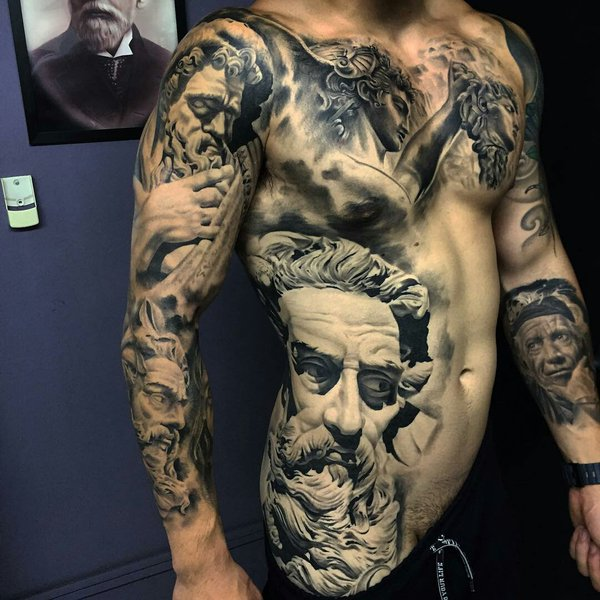 Men Full Sleeve And Rib Side Latino Face Real One More Tattoo