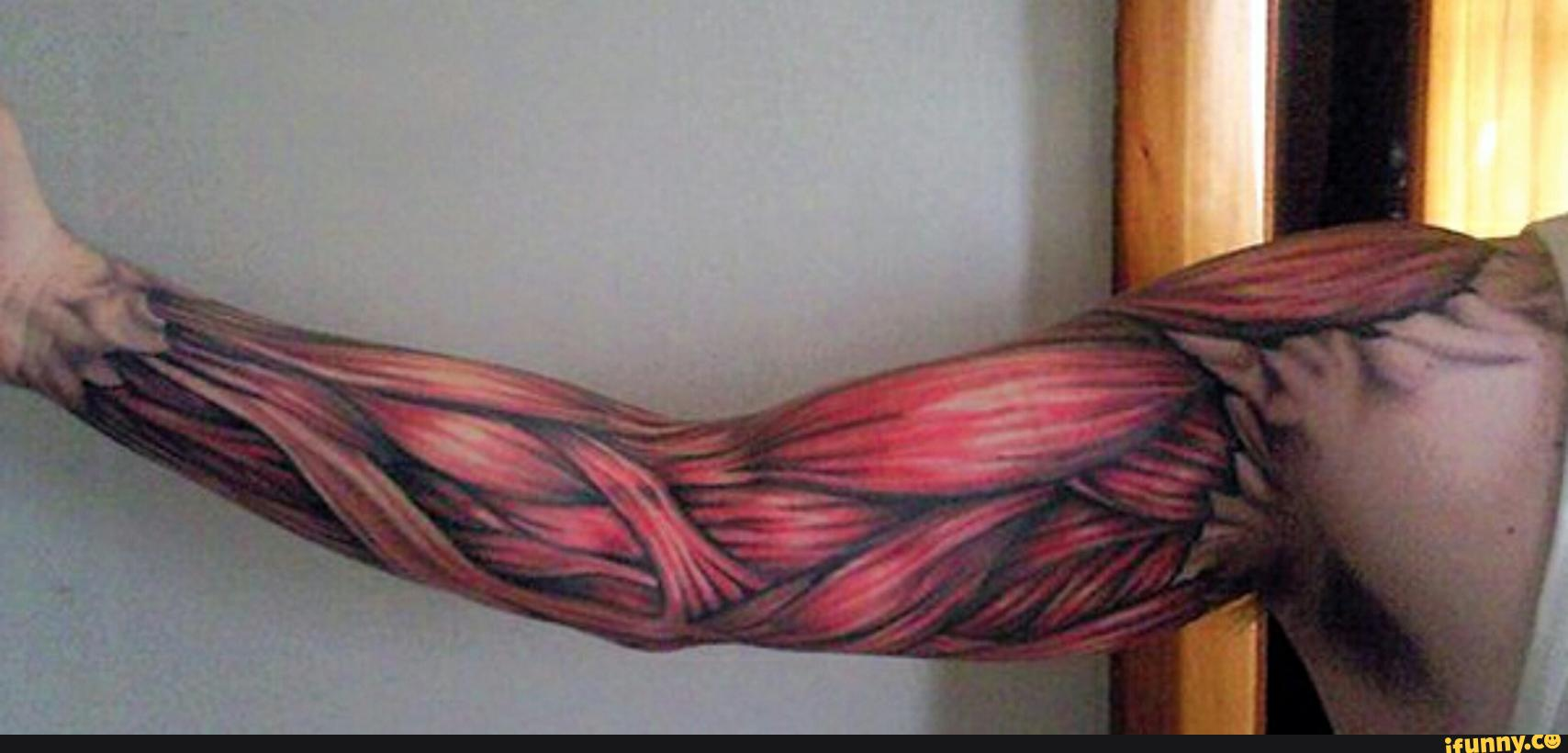 Men Full Sleeve Design With Amazing Muscles Tattoo