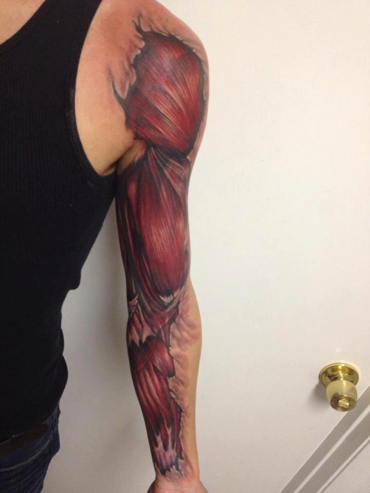 Men Full Sleeve Muscles Tattoo Design Idea