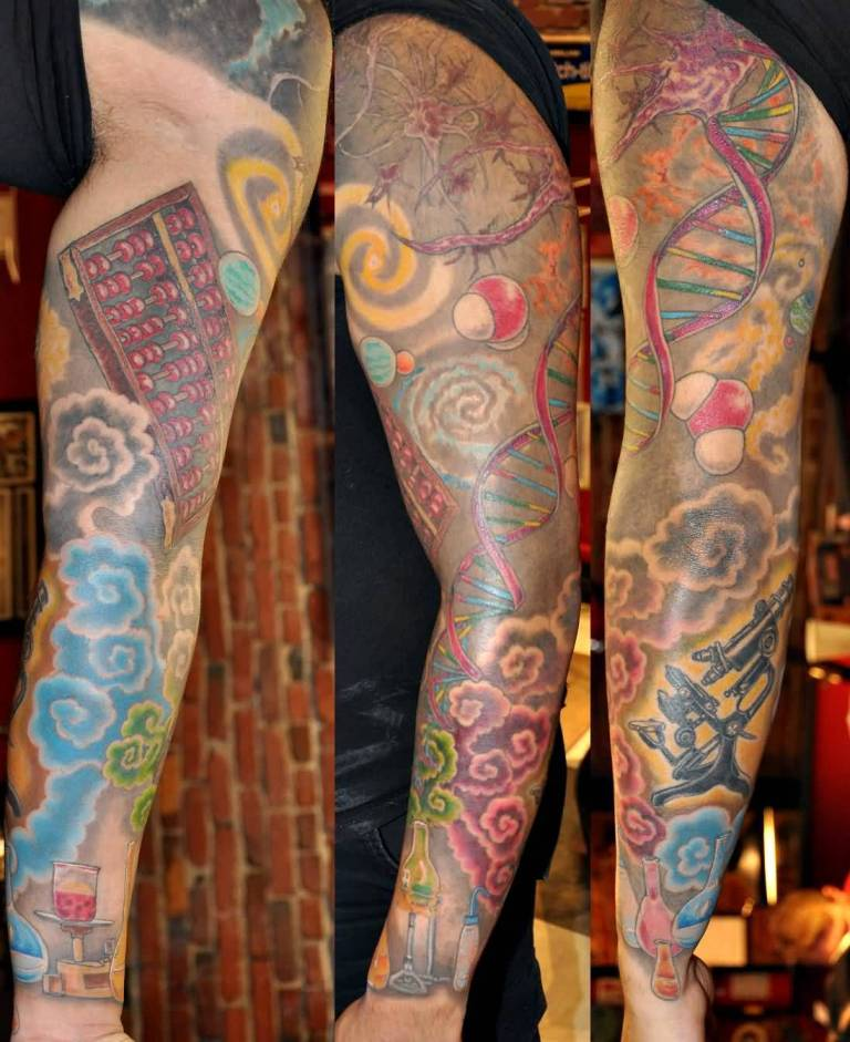 Men Full Sleeve Nice Color Science Tattoo Design Idea