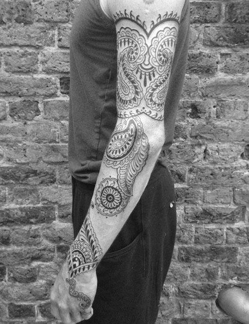 Men Full Sleeve Outstanding Paisley Pattern Tattoo Design