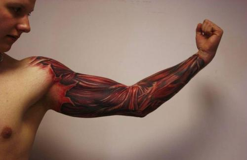 Men Full Sleeve With Red Ink Ripped Skin Muscles Tattoo