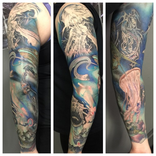 Men Full Sleeve Wonderful Sea Creature Tattoo
