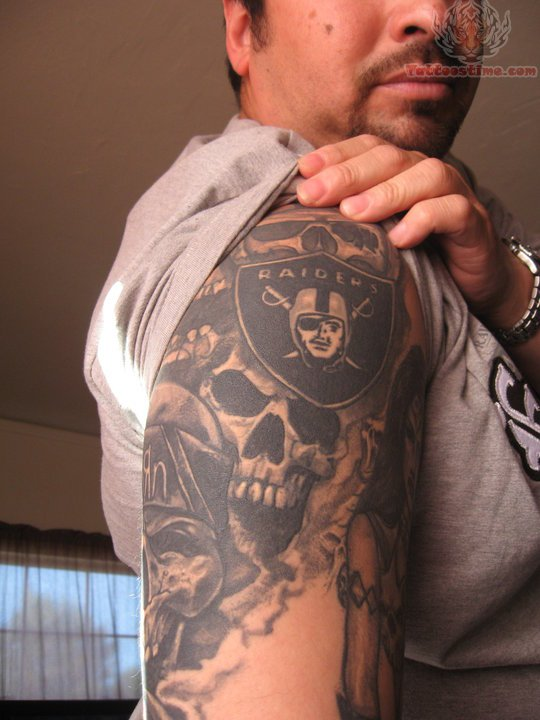 Men Half Sleeve Amazing Oakland Raiders Tattoo Of Skull