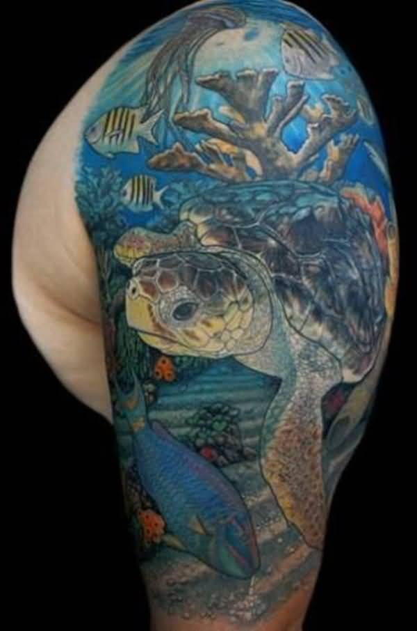 Men Half Sleeve Amazing Sea Creature Turtle Tattoo